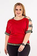 Трикотажная женская футболка в больших размерах с разрезами на рукавах 53BR636