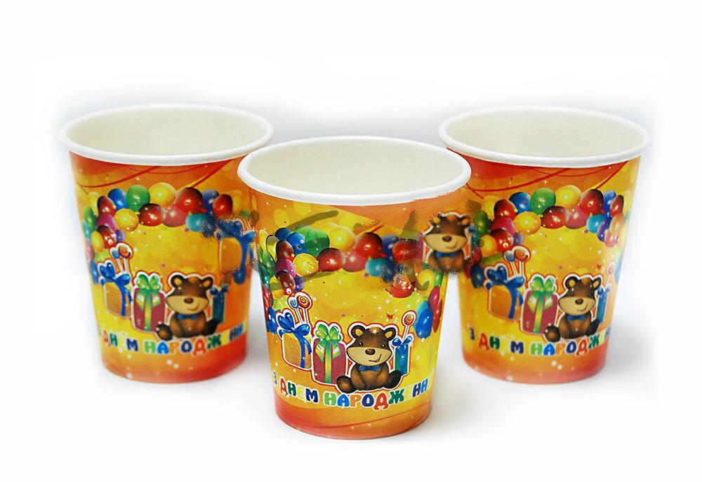 Набор стаканчиков З днем народження, Мишка 10 штук