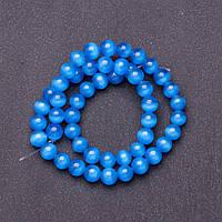 Бусины натуральный камень на нитке кошачий глаз Синий d-8мм L-37см