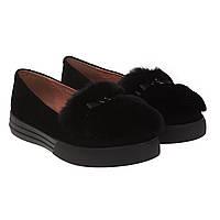 Туфли женские Deenoor (черные, замшевые, стильные, декорированные мехом)