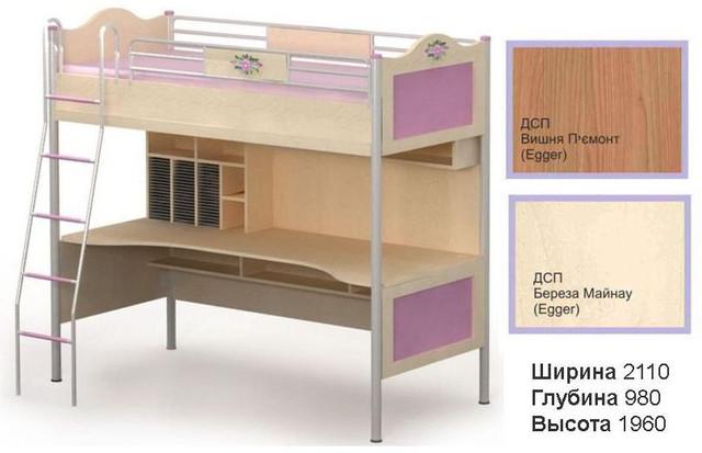 Кровать+стол An-16-1 Angel береза и вишня (размеры)