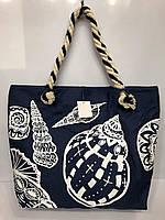 Пляжная летняя женская сумка на плечо синяя модная на принт Ракушки текстильная ручки канаты 2869 45х32х12 см