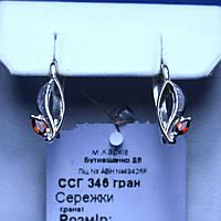 Серебряные серьги с чешским гранатом ссг 346 гран, фото 1