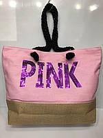 "Пляжная сумка ""Pink"" женская текстильная ручки канаты 48 см х 35 см х 10 см 2866"