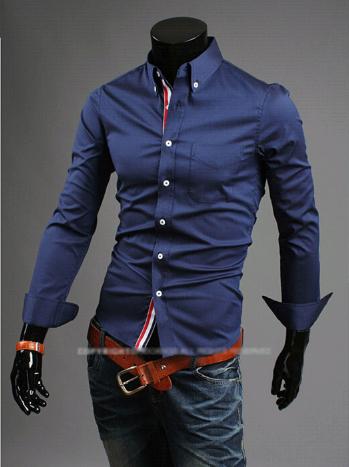 Мужская рубашка с длинным рукавом темно-синяя код 44