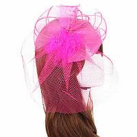 Шляпка с вуалью розовая А-961-1