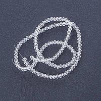 """Бусины """"рондель"""" хрустальные на нитке (стекло) прозрачное цвет белый бесцветный L -37см d-3-4мм"""