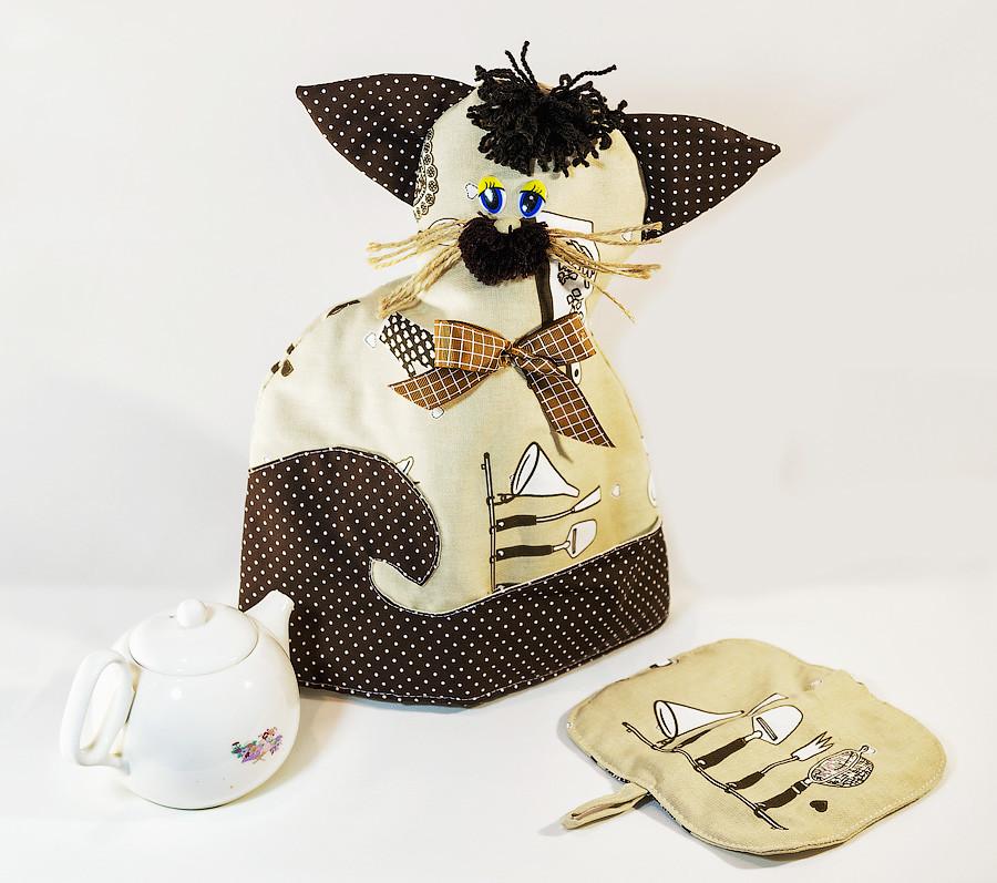 Грелка на чайник Кот с прихваткой