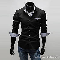 Мужская рубашка с длинным рукавом (черная) New 2018 код 46