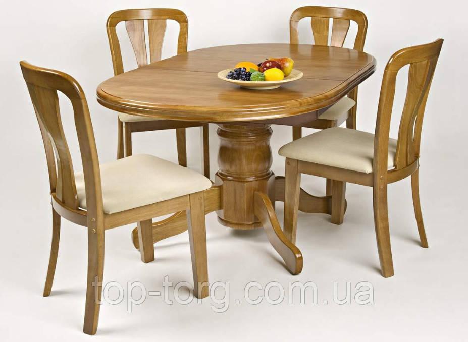 Стол обеденный овальный раскладной А17 деревянный, цвет ольха