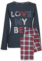 Пижама хлопковая с брюками в модную клетку Muzzy Love my bed
