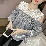 Женская стильная блуза с кружевом (4 цвета), фото 4
