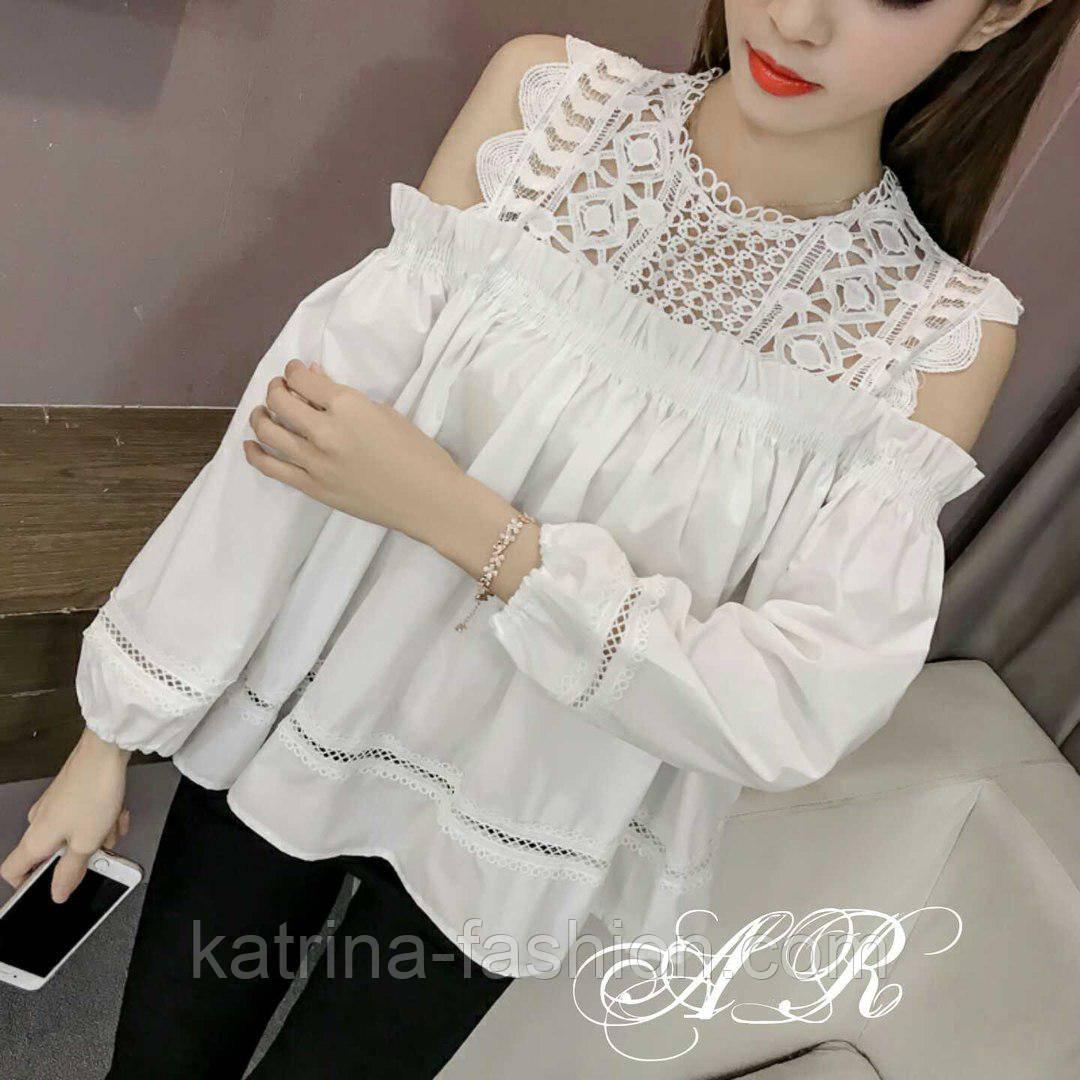 Женская стильная блуза с кружевом (4 цвета)
