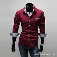 Нарядная мужская рубашка с длинным рукавом (красная) New 2018 код 46