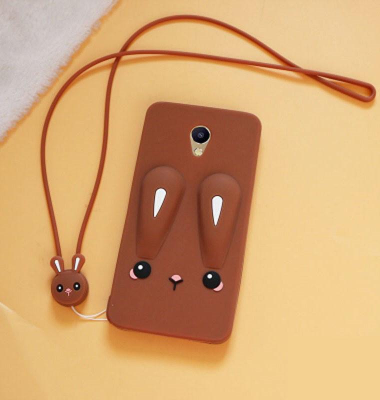 Чехол Funny-Bunny 3D для Meizu M5 Бампер резиновый коричневый