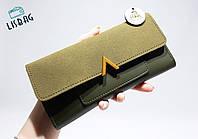 Жіночий гаманець великий, розмір Valentino копія , Оливковий