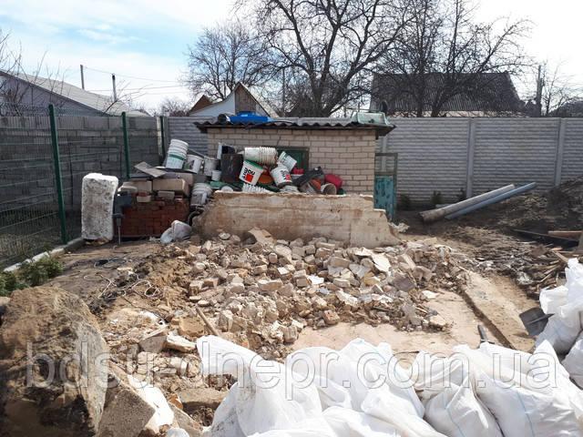 Дезинтеграция сарая из шлакоблока, фото, Днепр