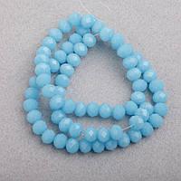 """Бусины """"рондель"""" хрустальные на нитке d-6 мм (стекло) непрозрачное цвет голубой L-41см"""