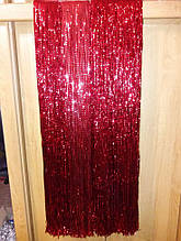 Красный дождик новогодний, рифленный - высота 1метр, ширина 24см