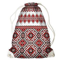 Рюкзак-мішок Червоний орнамент (RM_UKR001_WH)