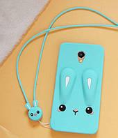 Чехол Бампер 3D для Meizu M5 резиновый Funny-Bunny голубой