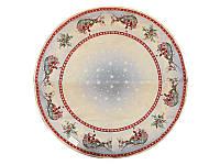 Скатерть гобеленовая новогодняя круглая ø 137 см с серебряным люрексом, Lefard, 063-015