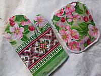 Набор прихватка кухонная + рукавица с цветами