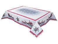 Скатерть гобеленовая новогодняя с серебряным люрексом 137х180 см, Lefard, 063-044