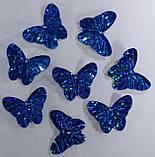 Пайетки Бабочка (синяя голограмма) (10шт./уп). Размер 29х23 мм. №42, фото 2