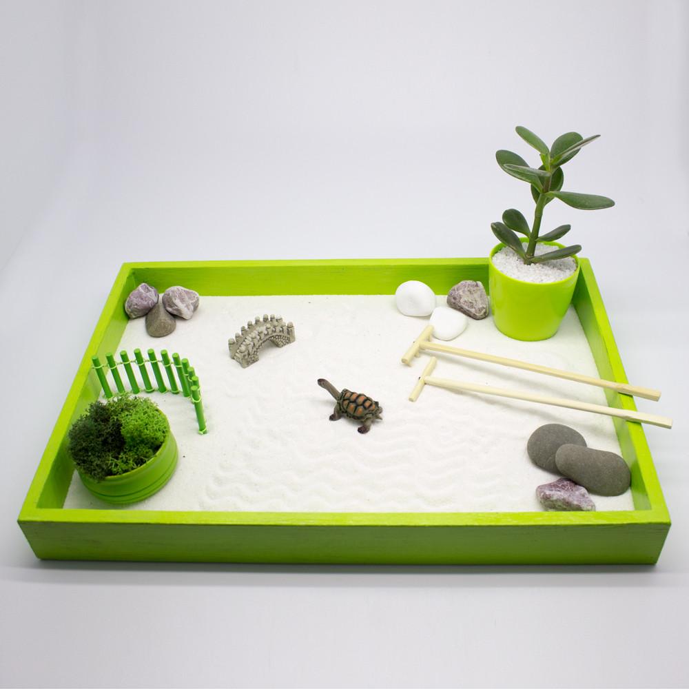 Японский сад камней Сад Дзен с черепахой, 27х40 см, салатовый