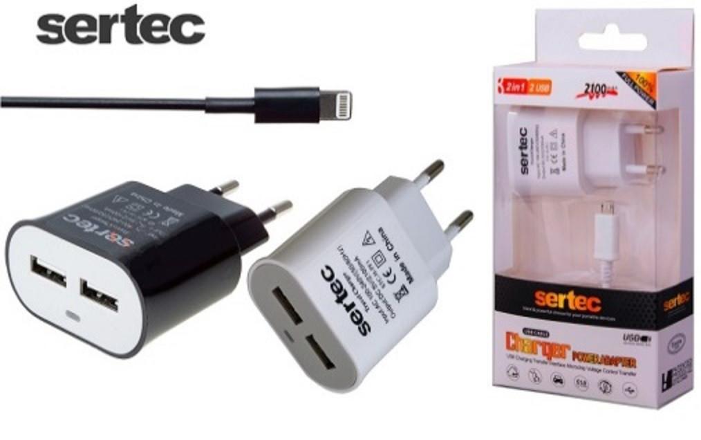 зарядное устройство Sertec для телефонов и планшетов на 2 Usb