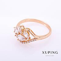 "Кольцо Xuping цвет металла ""золото"" белые камни 4-6мм р-р16-20"