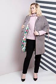 Женская модная куртка-пальто двойка 624 / размер 50-62 / большие размеры