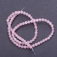 Бусины из натурального камня Розовый кварц гладкий шарик на нитке d-4мм L-38см