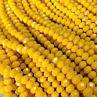 """Бусины """"рондель"""" хрустальные (стекло) на нитке 6мм, матовое цвет желтый канареечный , L- 45см"""