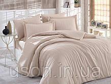 Комплект постельного белья сатин тм Hobby семейный размер diamond stripe бежевый