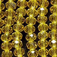 """Бусины """"рондель"""" хрустальные на нитке (стекло) прозрачное цвет желтый светлый янтарный L -37см d-3-4мм"""