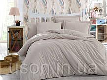 Комплект постельного белья сатин тм Hobby семейный размер diamond stripe капучино