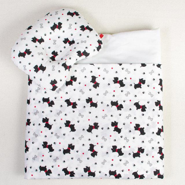Комплект в детскую коляску BabySoon Веселые собачки одеяло 65х75 см подушка 22х26 см