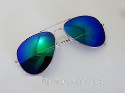 Очки капли Aviator солнцезащитные Blue-Green S 2017