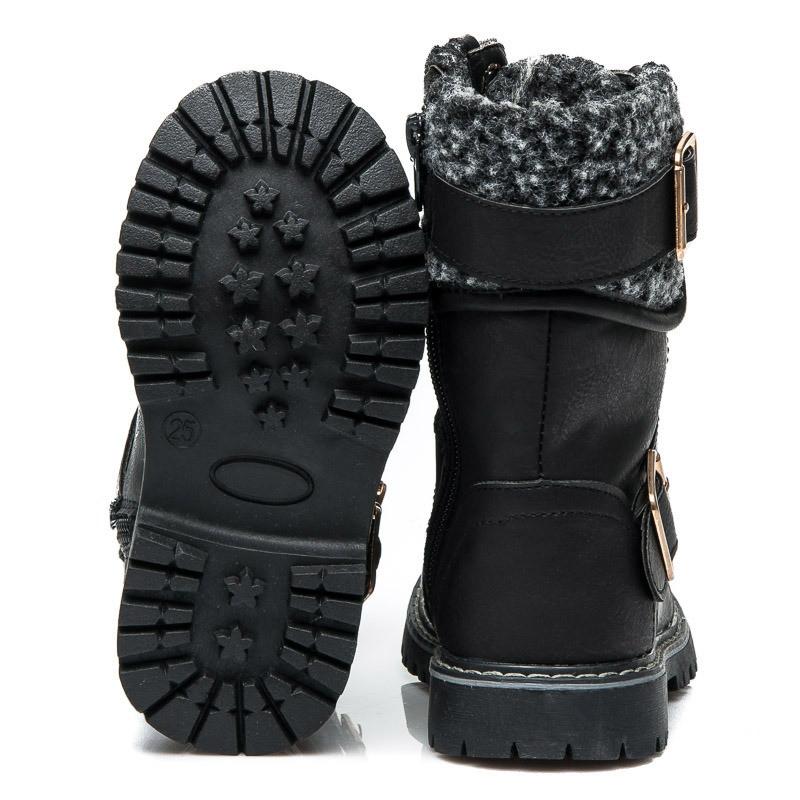 Зимние ботинки на девочку черные купить фото 2015-2016 Киев Украина Размеры 25-30