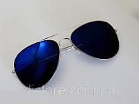 Очки капли Aviator солнцезащитные зеркало Dark Blue S