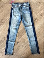 Джинсы женские модные, зауженные, высокая талия, американка, размер 26-30, джинсы с лампасом
