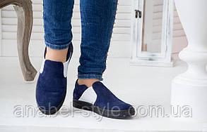 Слипоны женские на толстой черной подошве натуральная замша синего цвета на резинке Код 1416 AR, фото 2