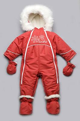 Детский зимний комбинезон-трансформер на меху для девочки (красный)