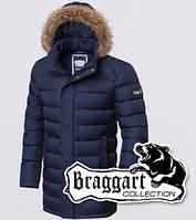 Зимняя куртка с мехом на съемном капюшоне Braggart 3172 темно-синяя
