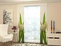 Панельная штора Белые тюльпаны