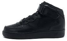 Женские кроссовки Nike Air Force 1 Mid GS Black 314195-004, Найк Аир Форс, фото 3