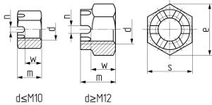 Описание: Гайка шестигранная корончатая DIN 935. Чертёж