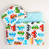 Постельное белье в детскую колыбель BabySoon три предмета Автомобили цвет бирюзовый, фото 1